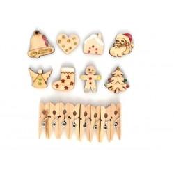 8 marques place en bois décor pailleté Noël à monter, pack 4