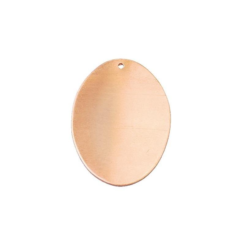 Pendentif ovale plat 1 trou en cuivre à  émailler