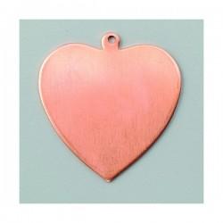 Pendentif coeur avec accroche cuivre à émailler 1 trou cuivre à  émailler