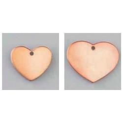 Pendentif coeur 1 trou cuivre à  émailler