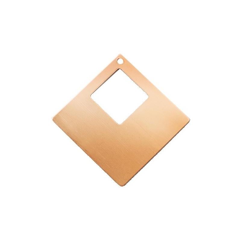 Pendentif losange plat 1 trou en cuivre