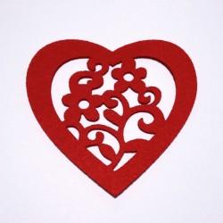 Coeur en feutrine 3 mm avec fleurs