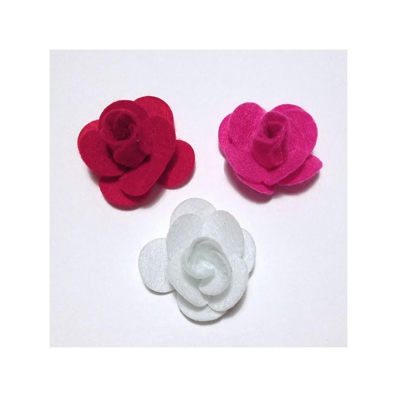 Rose feutrine en 3 d couleur au choix