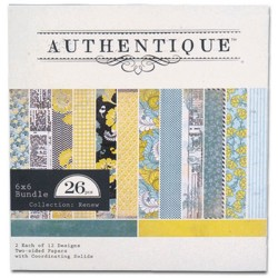 Carnet papier scrap de 24 motifs 6x6  authentique (tons Renews)