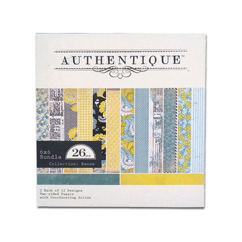 Carnet papier scrap de 24 motifs 6x6  authentique (tons Renews)