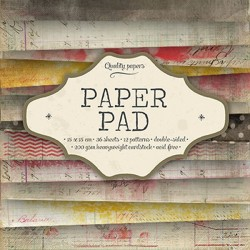 Bloc  paper pad 36 pages 6x6 double face  studio light (gris, jaune, rose, rouge)