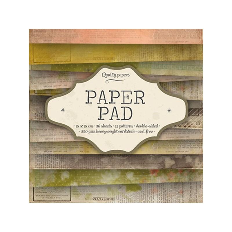 Bloc  paper pad 36 pages 6x6 double face  studio light gris, rose, vert, marron...)
