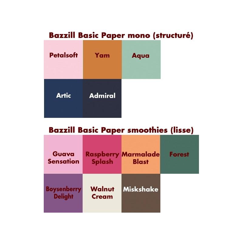10 feuilles Papier Bazzill mono  ou smothies coloris au choix