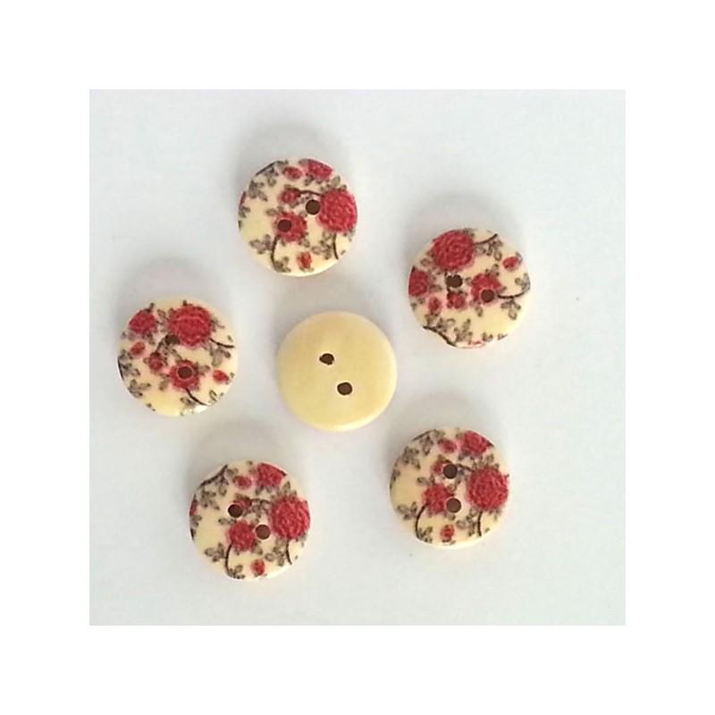 5 Boutons bois fleurs rouge