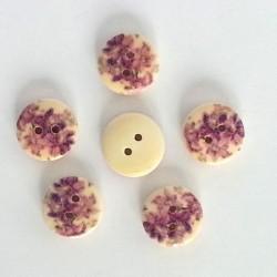 5 Boutons bois fleurs lilas