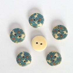5 Boutons bois fleurs bleu turquoise