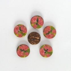 5 Boutons coco fleurs roses et vert