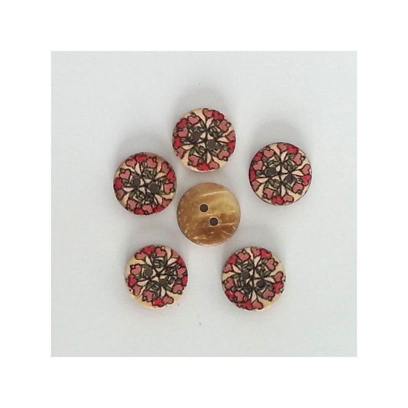 5 Boutons coco fines roses et feuillage