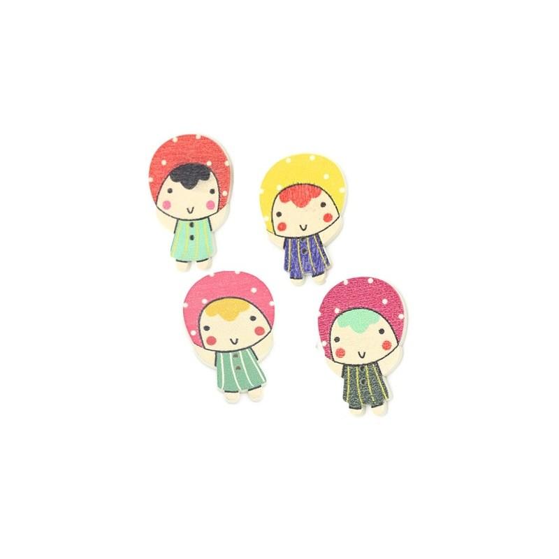 4 Boutons bois petite fille 3,9 x 2,6 cm