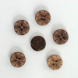 5 Boutons coco aspect cuir - décor fleur 2 trous, 15 mm