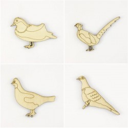 Pack de 4 oiseaux : pigeon, canard faisan et perdrix en bois