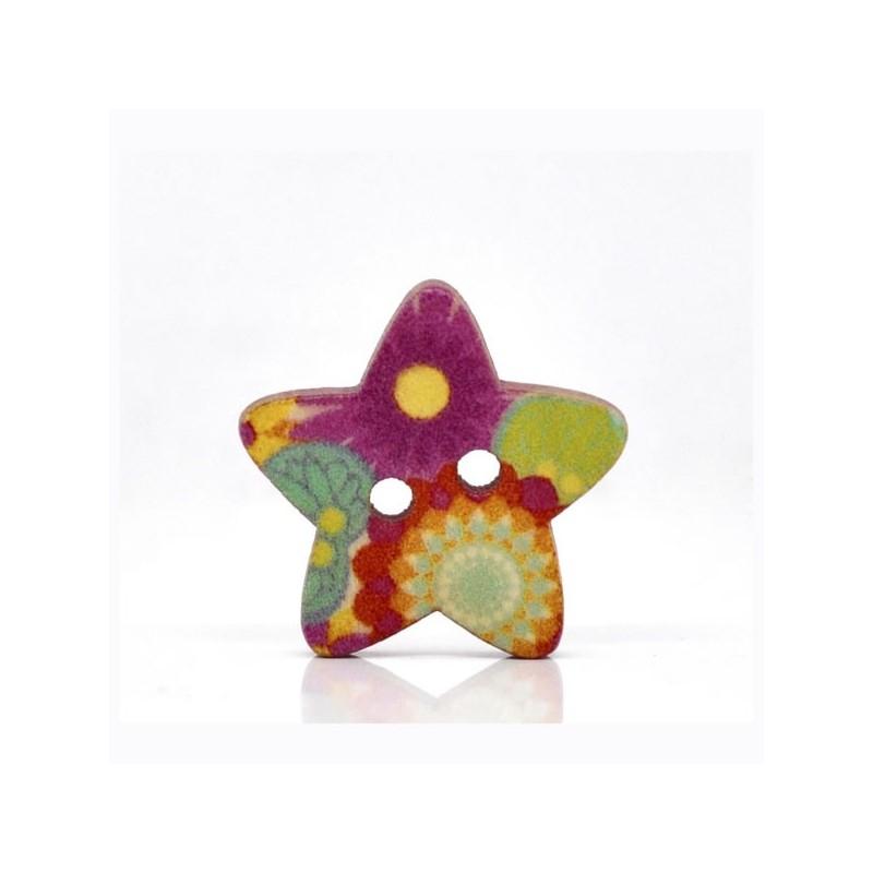Bouton en forme d'étoile 18 x 17 mm, 2 trous