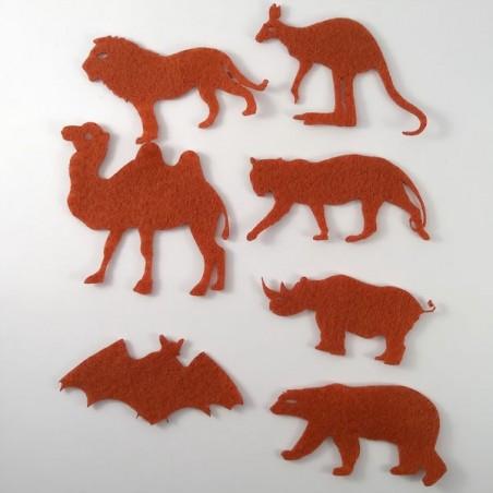 7 animaux sauvages, feutrine et coloris au choix