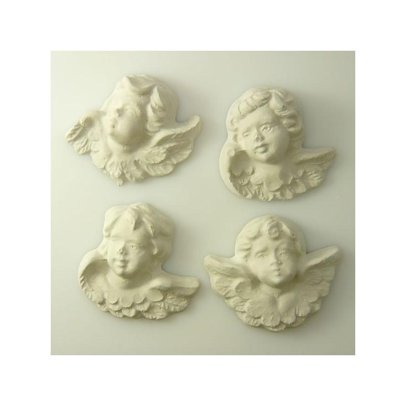 4 anges en plâtre regard gauche
