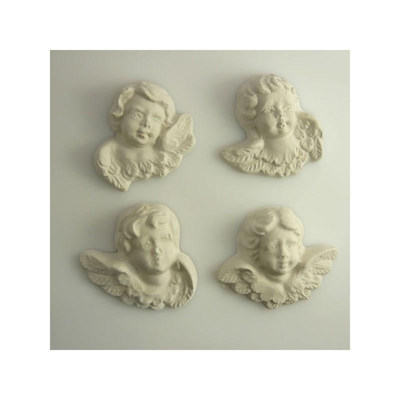 4 anges aspect vieilli en plâtre regard droit