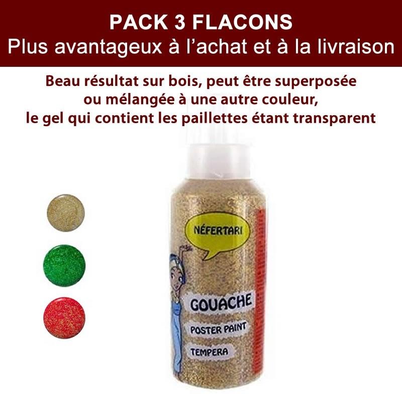 3 flacons peinture rouge vert et dor e paillet e 60 ml - Peinture transparente pailletee ...