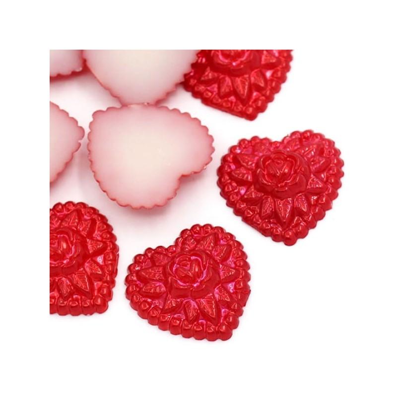 5 coeurs applique d'embellissement Acrylique rouge