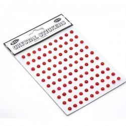 100 demi-perles embellissement 5 mm rouge autocollantes