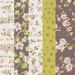 Coupon tissu coton motif fleurs 30 x 70 cm