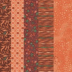 5 Coupons patchwork coordonnés orange/marron/vert coton 29,5 x 70 cm