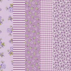 5 Coupons patchwork coordonnés mauve/blanc/vert coton 29,5 x 70 cm