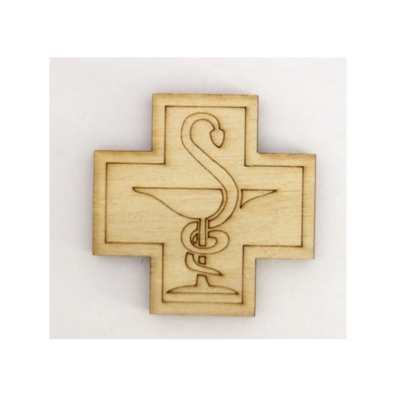 Croix de pharmacien en bois