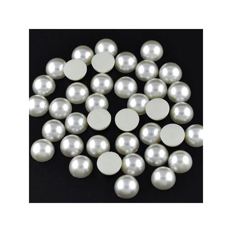 20 demi-Perles Ivoire embellissement 11 mm