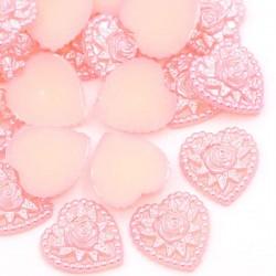 5 coeurs applique d'embellissement Acrylique mauve