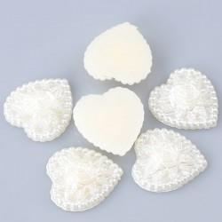 5 coeurs applique d'embellissement Acrylique blanc