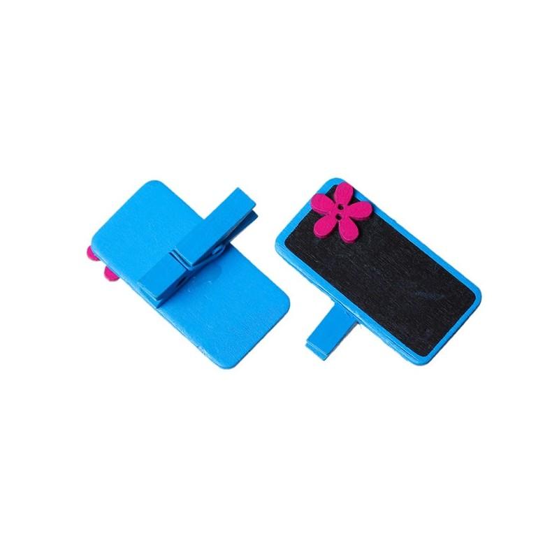 Marque place fleur et ardoise bleu