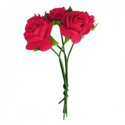 5 mini roses couleur blanche