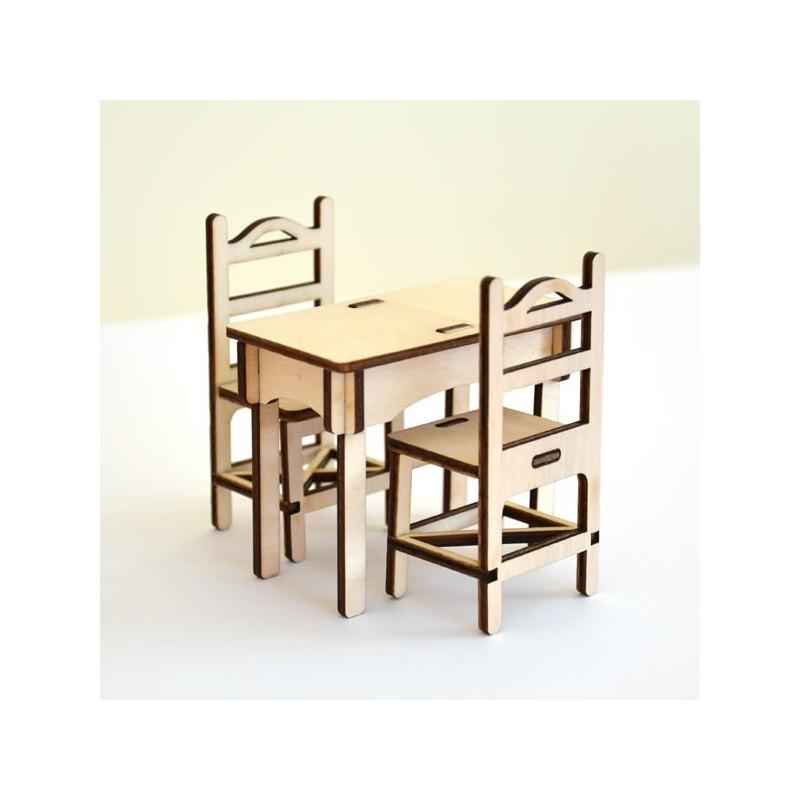 Pack une petite table et 2 chaises, miniature 3D en bois à monter