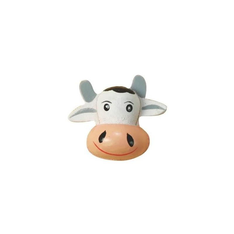 Tête de vache en bois décoré