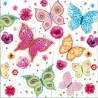 Serviettes décor papillons fond bleu