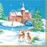 Serviette Noël chateau et cerf