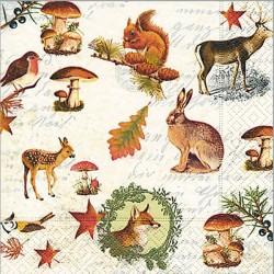 Serviette motif automne animaux