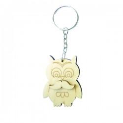 Chouette (hibou) porte-clef en bois à décorer