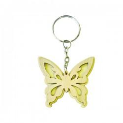 Papillon porte-clef en bois à décorer modele 1