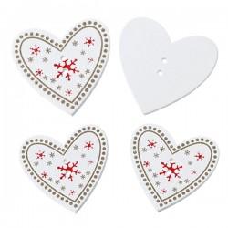 3 boutons coeur de Noël blanc