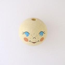 Tête de poupée en bois décorée 40 mm