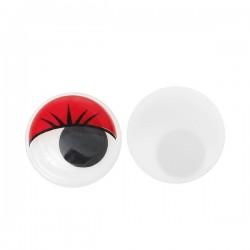 Yeux jaunes 10 mm à pupille mobile avec cils