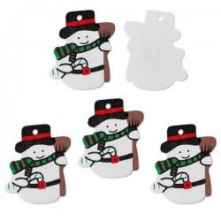 4 bonhommes de neige pendentif bois