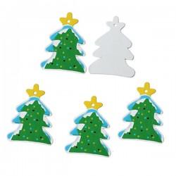 4 sapins de Noël pendentif bois