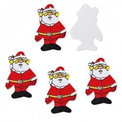 4 Père Noël pendentif bois