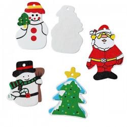 4 sujets de Noël pendentif bois